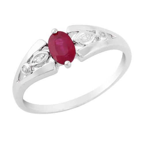 18ct White Gold 0.56ct Ruby & 2pt Diamond Single Stone Ring Size: X
