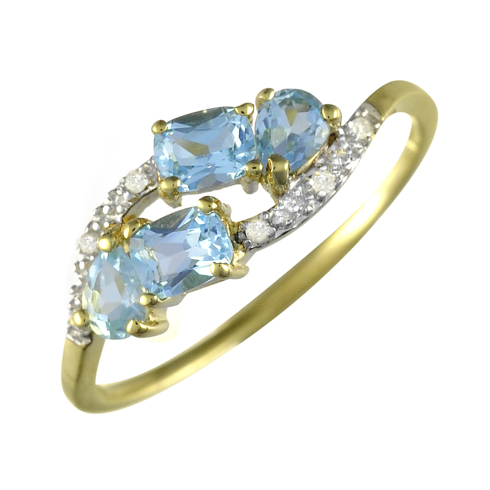 9ct Yellow Gold 0.82ct Natural Sky Blue Topaz & Diamond Classic Ring