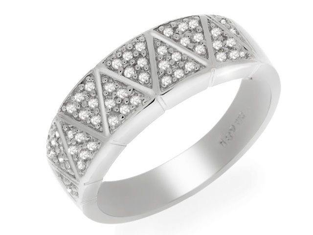9ct White Gold Diamond Ring Size: O