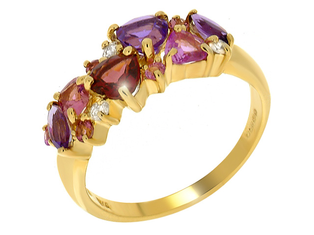 9ct Yellow Gold Multi Gem Stone Ring