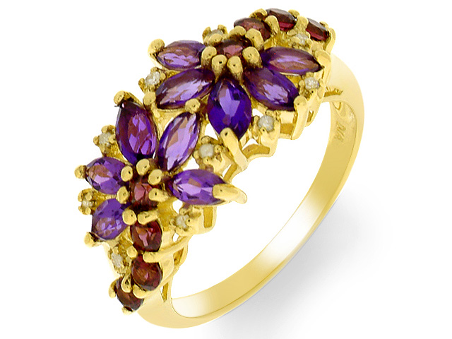 9ct Multi Gem Stone Yellow Gold Ring