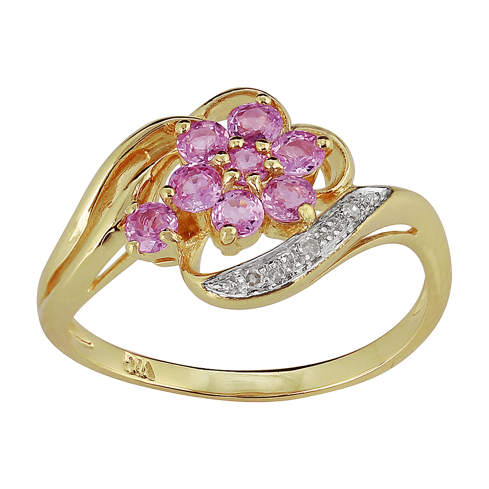 9ct Yellow Gold 0.40ct Natural Pink Sapphire & Diamond Floral Style Ring
