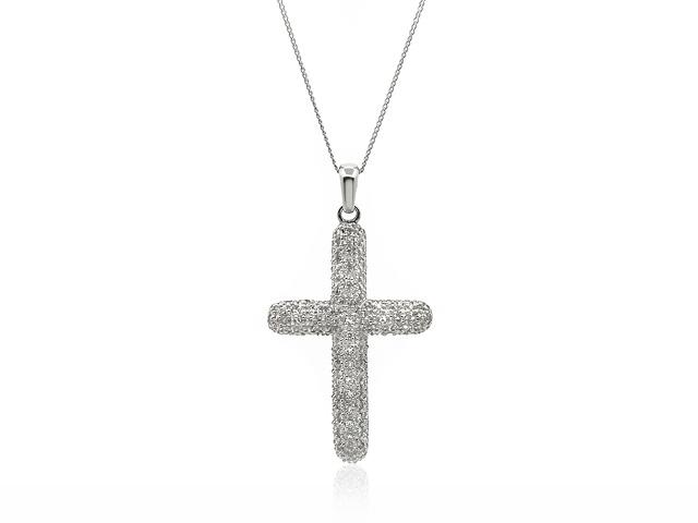 9ct White Gold 0.50ct Diamond Pave Set Cross Pendant on 45cm Chain