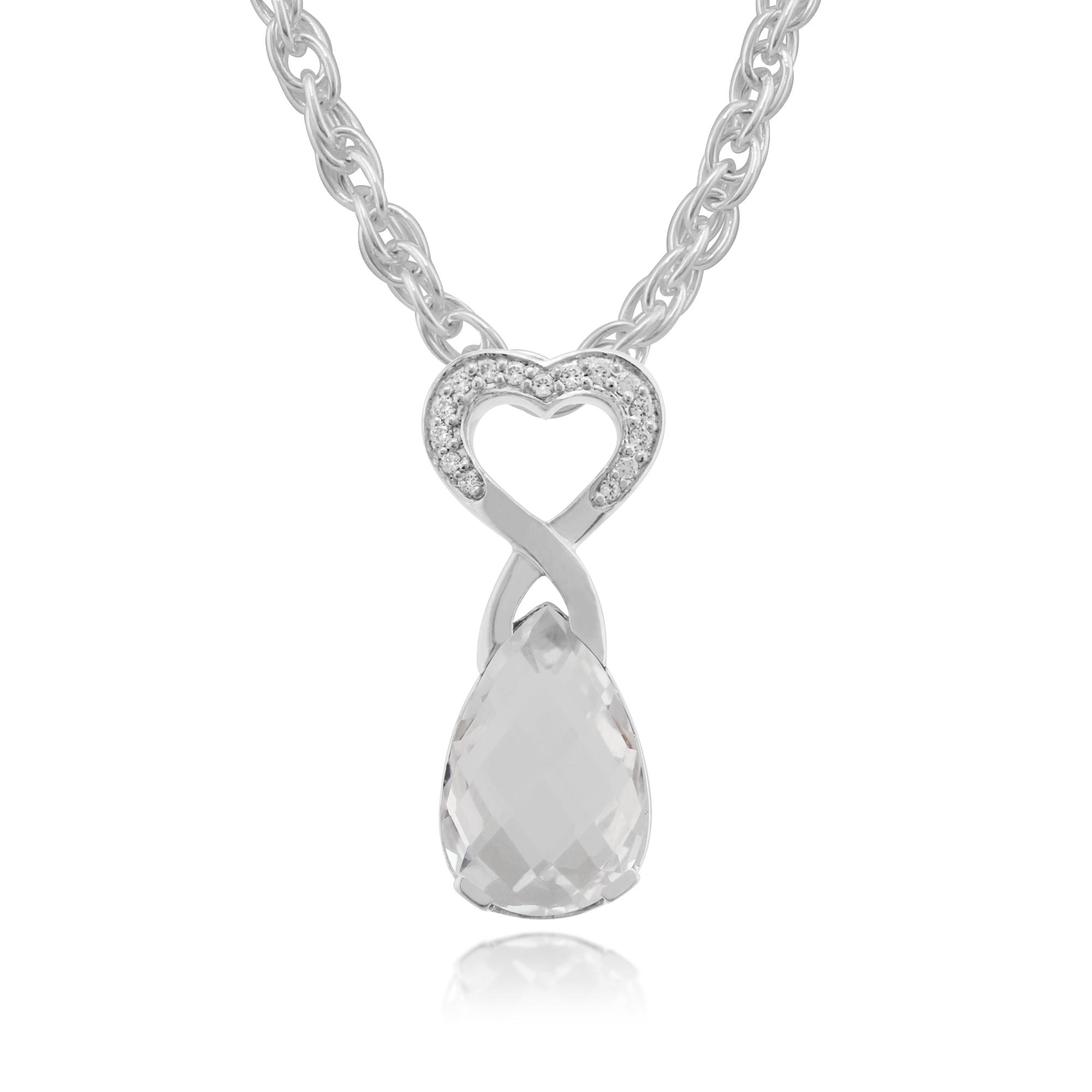 9ct White Gold 3.50ct Rock Crystal & Diamond Heart Pendant on 45cm Chain