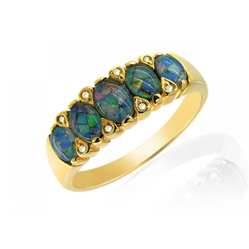 18ct Yellow Gold 1.36ct Triplet Opal & 4pt Diamond Five Stone Ring Size: Q