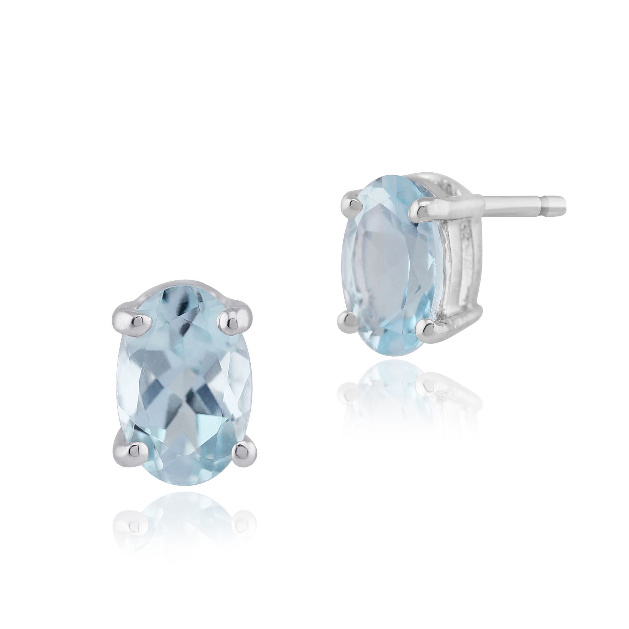 Gemondo 9ct White Gold 0.70ct 4 Claw Set Aquamarine Oval Stud Earrings 6x4mm