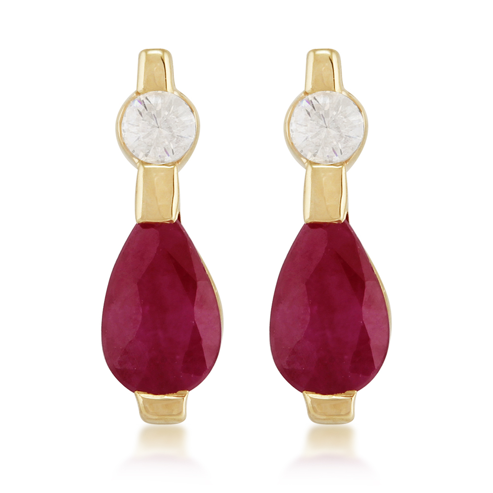 9ct Yellow Gold 0.45ct Ruby & Diamond Drop Earrings