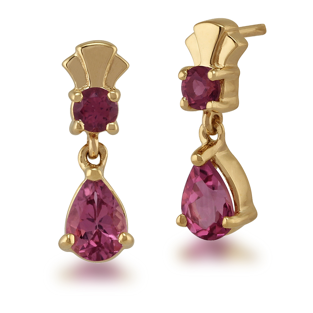 Gemondo 9ct Yellow Gold 0.90ct Pink Tourmaline Classic Two Stone Drop Earrings