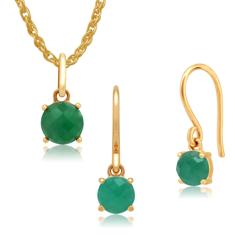 Gemondo Amour Damier 9ct Yellow Gold Emerald Drop Earrings & 45cm Necklace Set