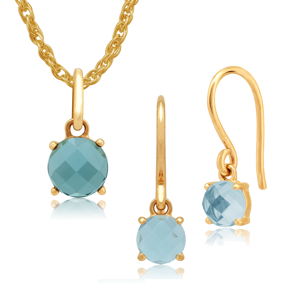 Amour Damier 9ct Yellow Gold Topaz Drop Earrings & 45cm Necklace Set by Gemondo