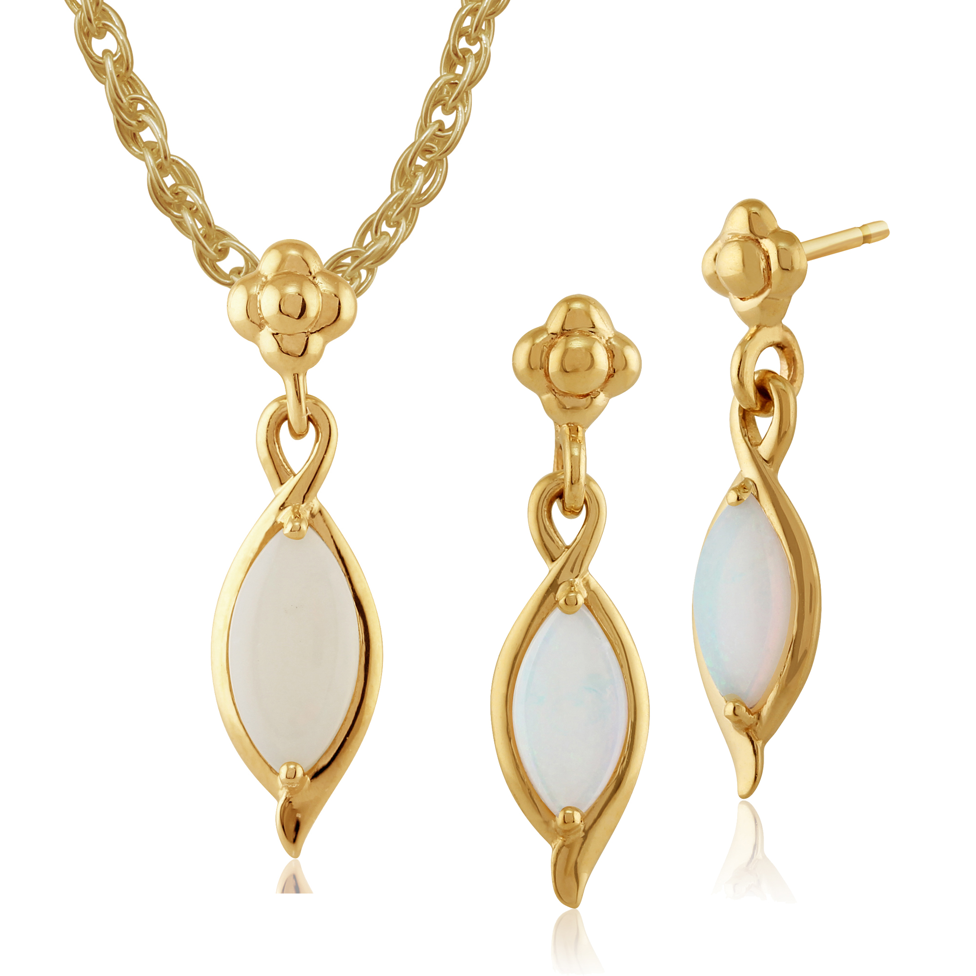 Gemondo 9ct Yellow Gold Genuine Opal Cabochon Floral Drop Earring & Necklace Set