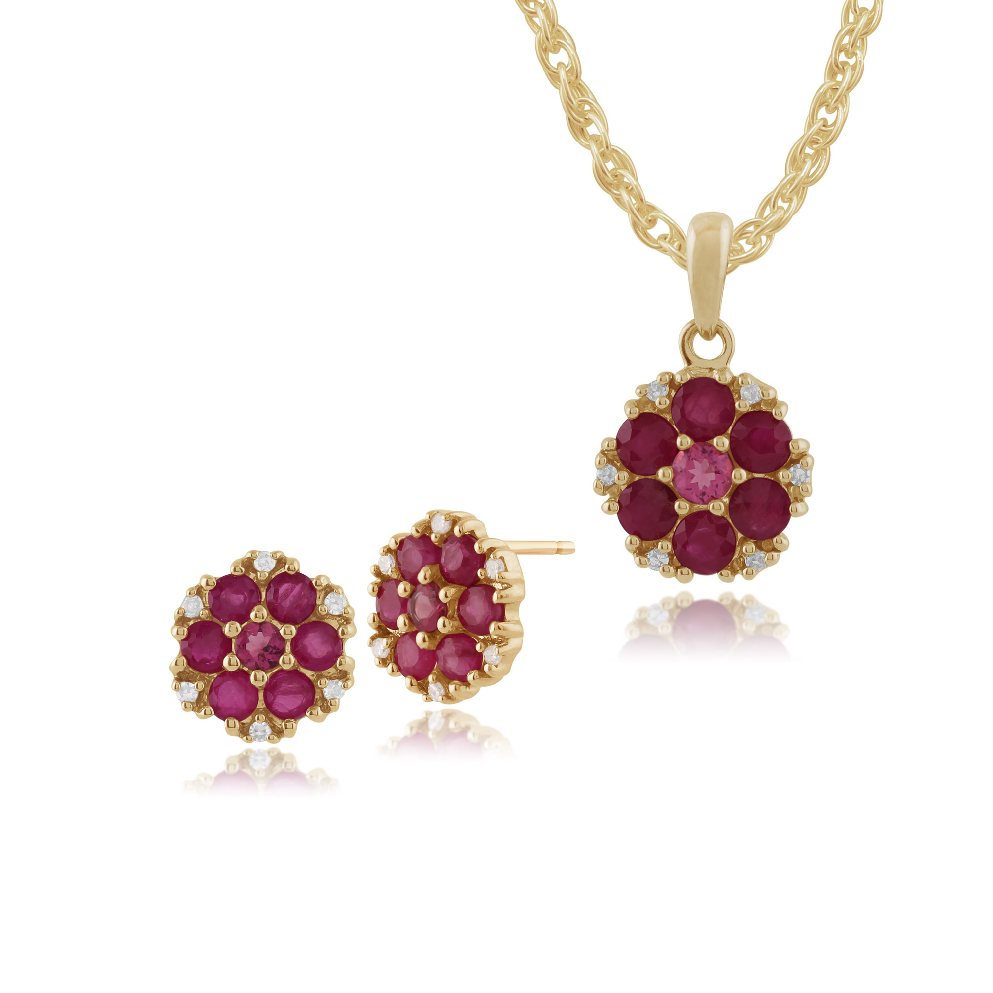 9ct Yellow Gold Ruby, Tourmaline & Diamond Stud Earrings & 45cm Necklace Set