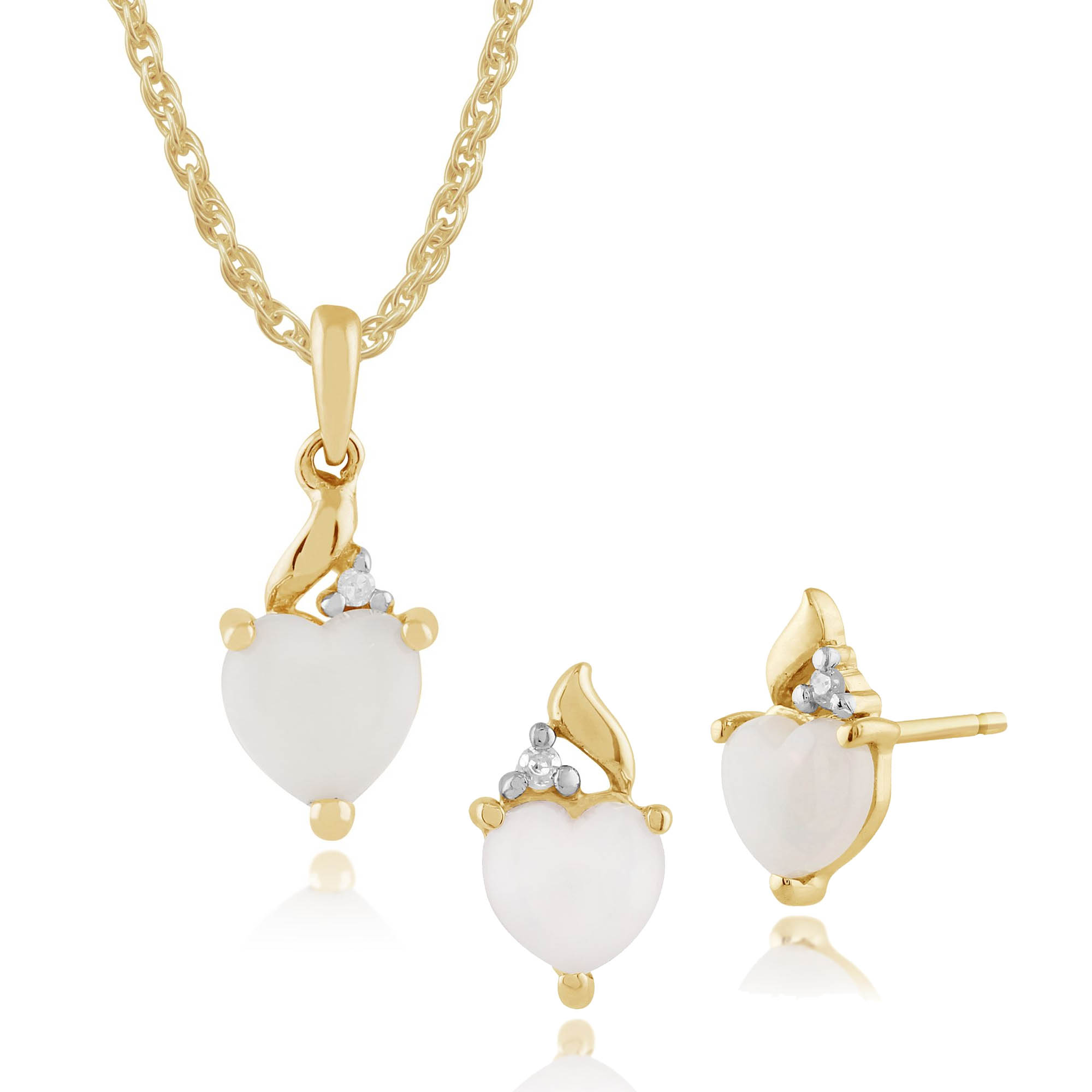 Gemondo 9ct Yellow Gold Opal & Diamond Heart Stud Earrings & 45cm Necklace Set