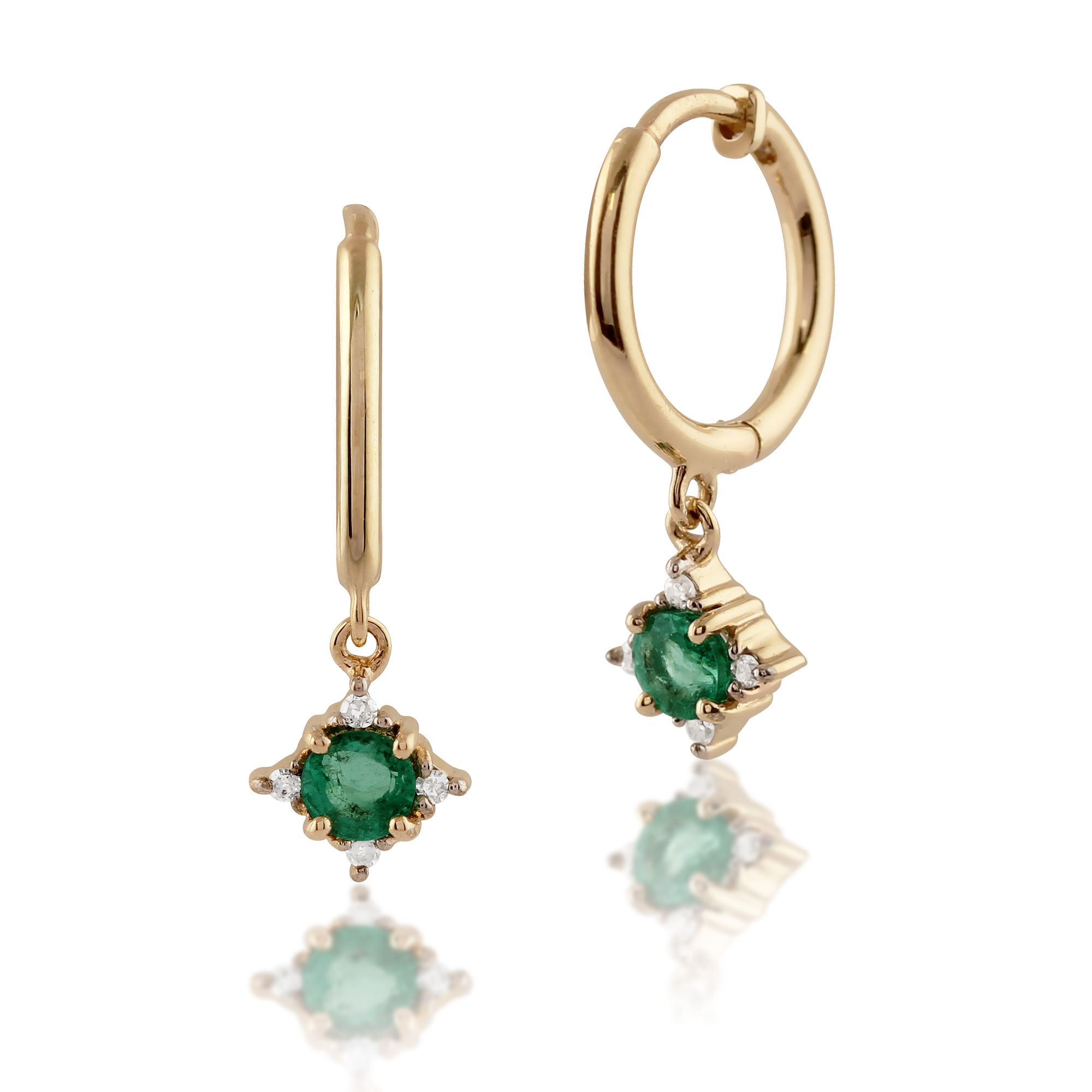 Gemondo 9ct Yellow Gold 0.28ct Emerald & Diamond Hoop Earrings