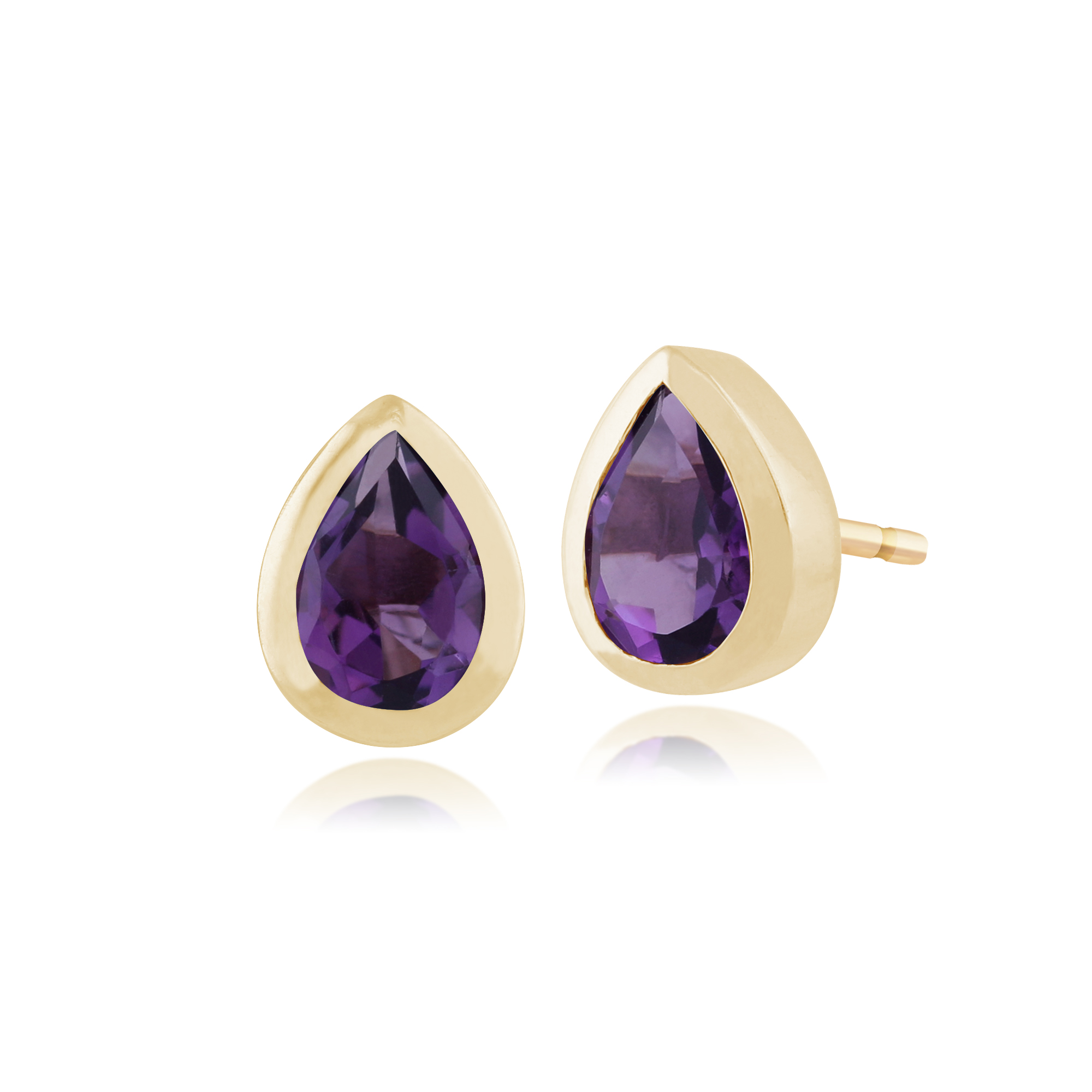 gemondo 9ct yellow gold amethyst stud earrings ebay. Black Bedroom Furniture Sets. Home Design Ideas