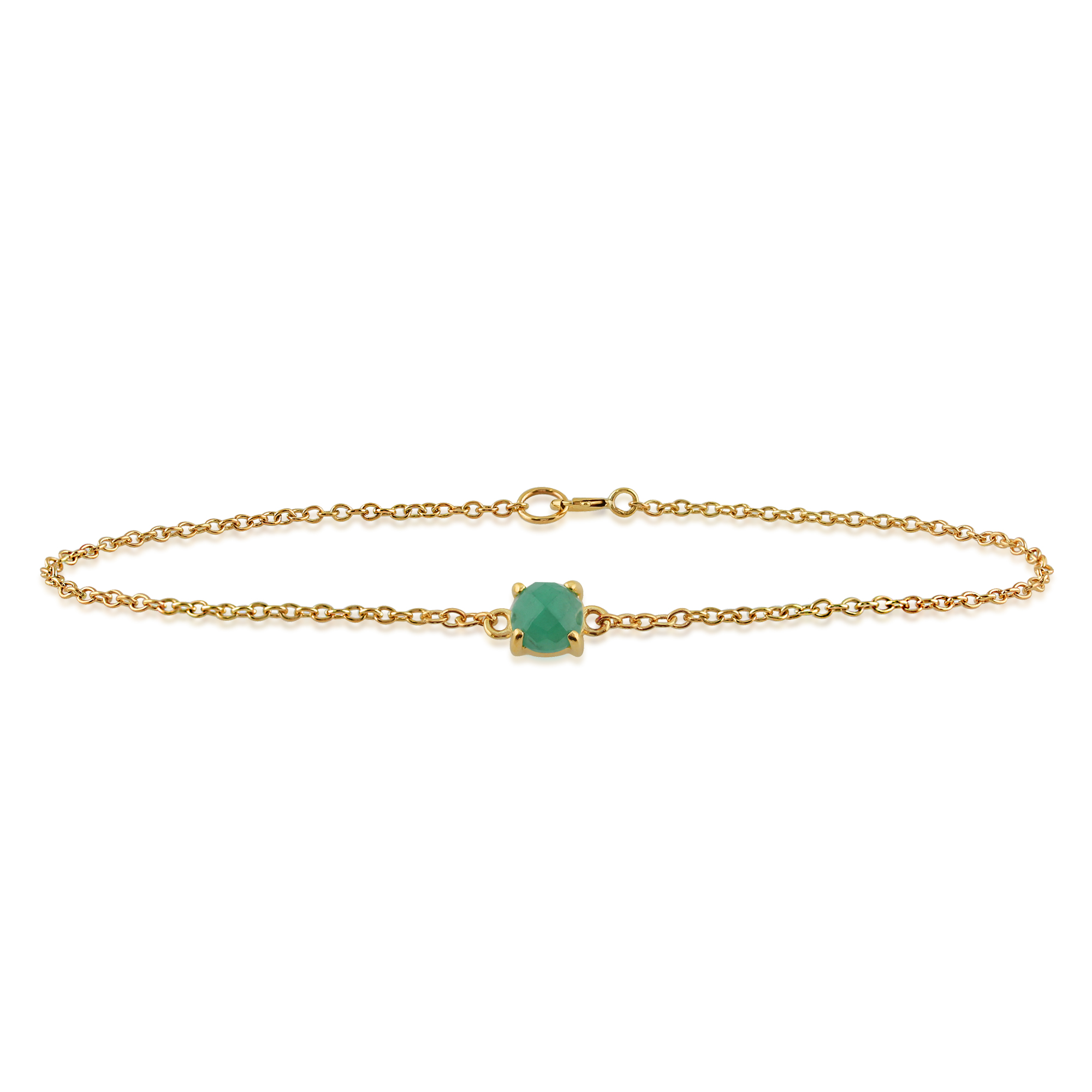 Amour Damier 9ct Yellow Gold 0.4ct Emerald Checkerboard 19cm Bracelet by Gemondo