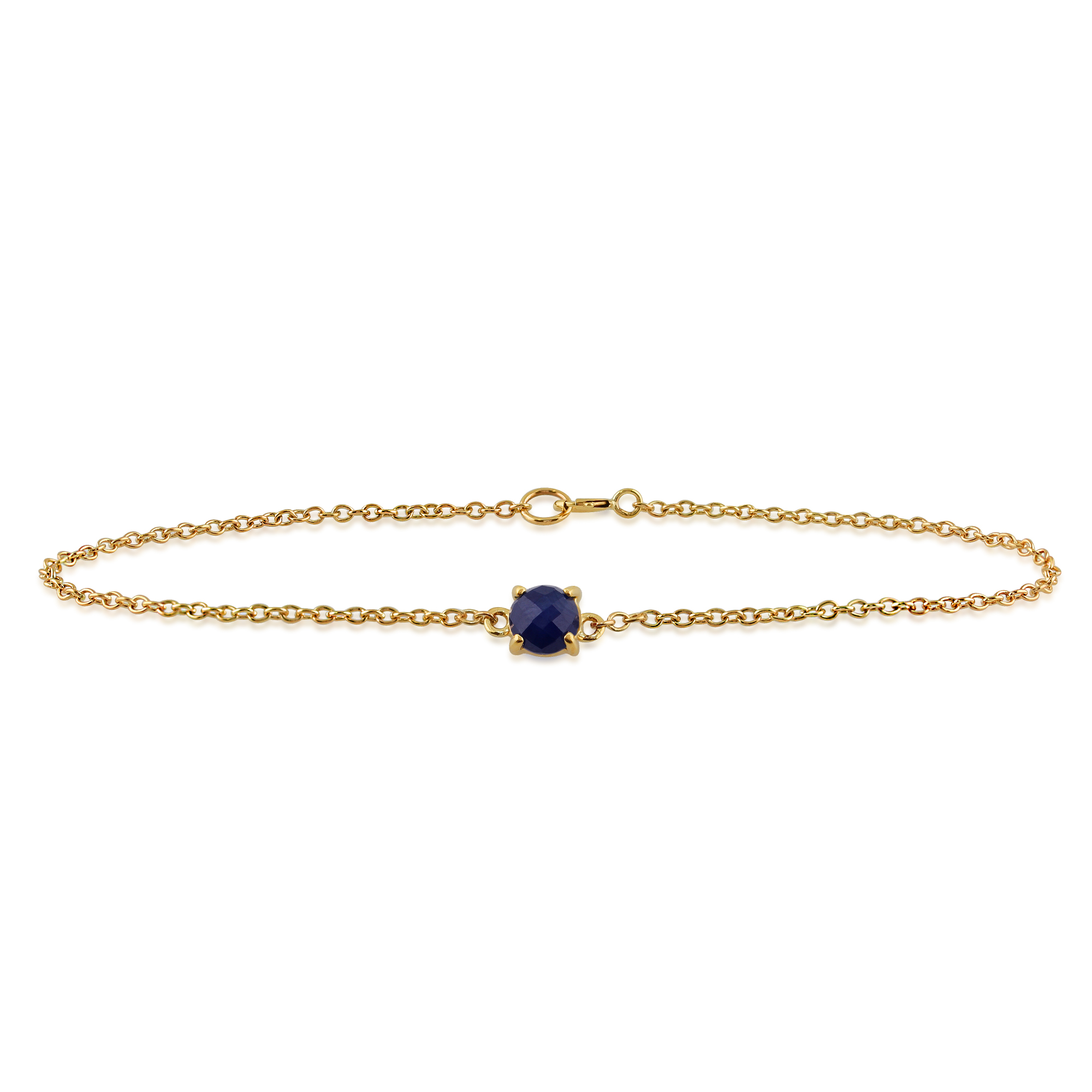 Amour Damier 9ct Yellow Gold 0.75ct Sapphire Claw Set Checkerboard 19cm Bracelet
