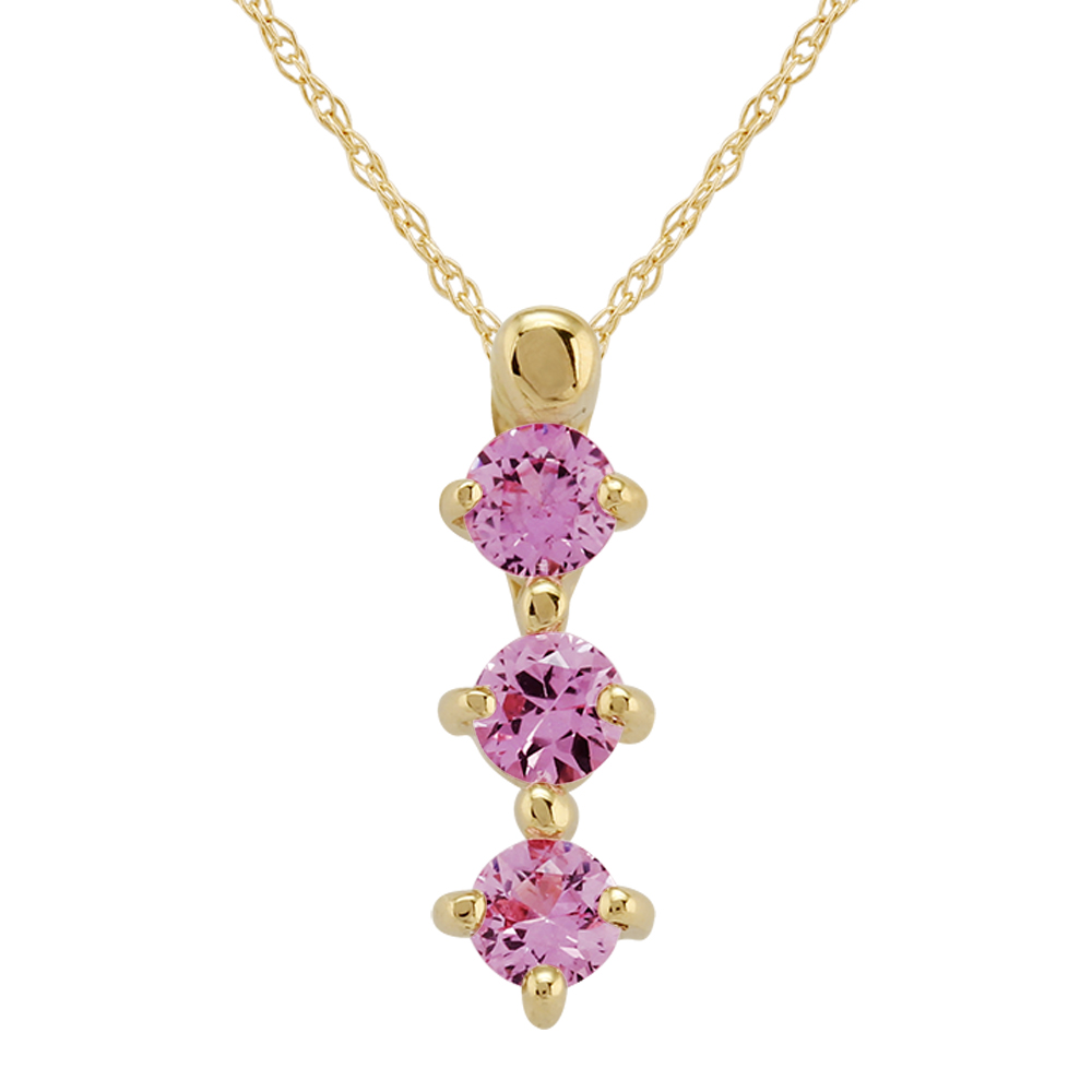 9ct Yellow Gold 0.36ct Natural Pink Sapphire Trilogy Pendant On Chain