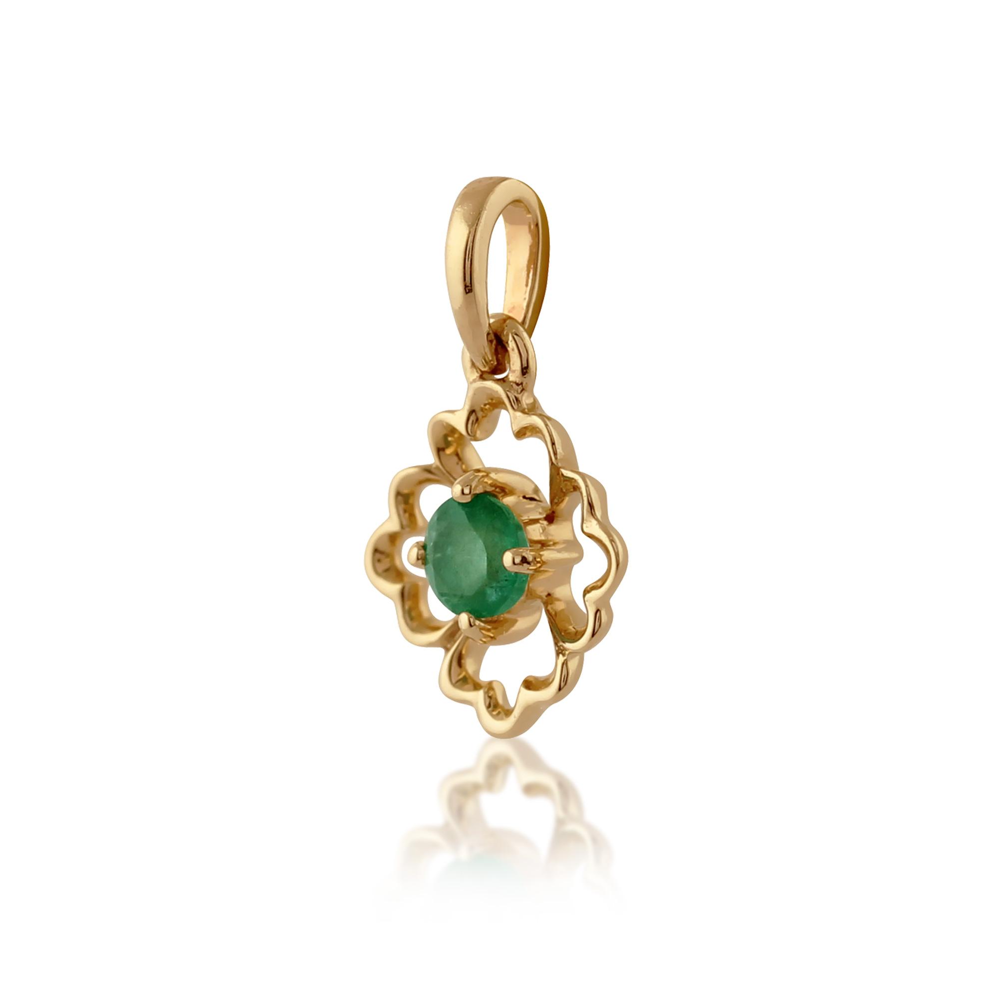 gemondo 9ct yellow gold floral single 0 14ct emerald