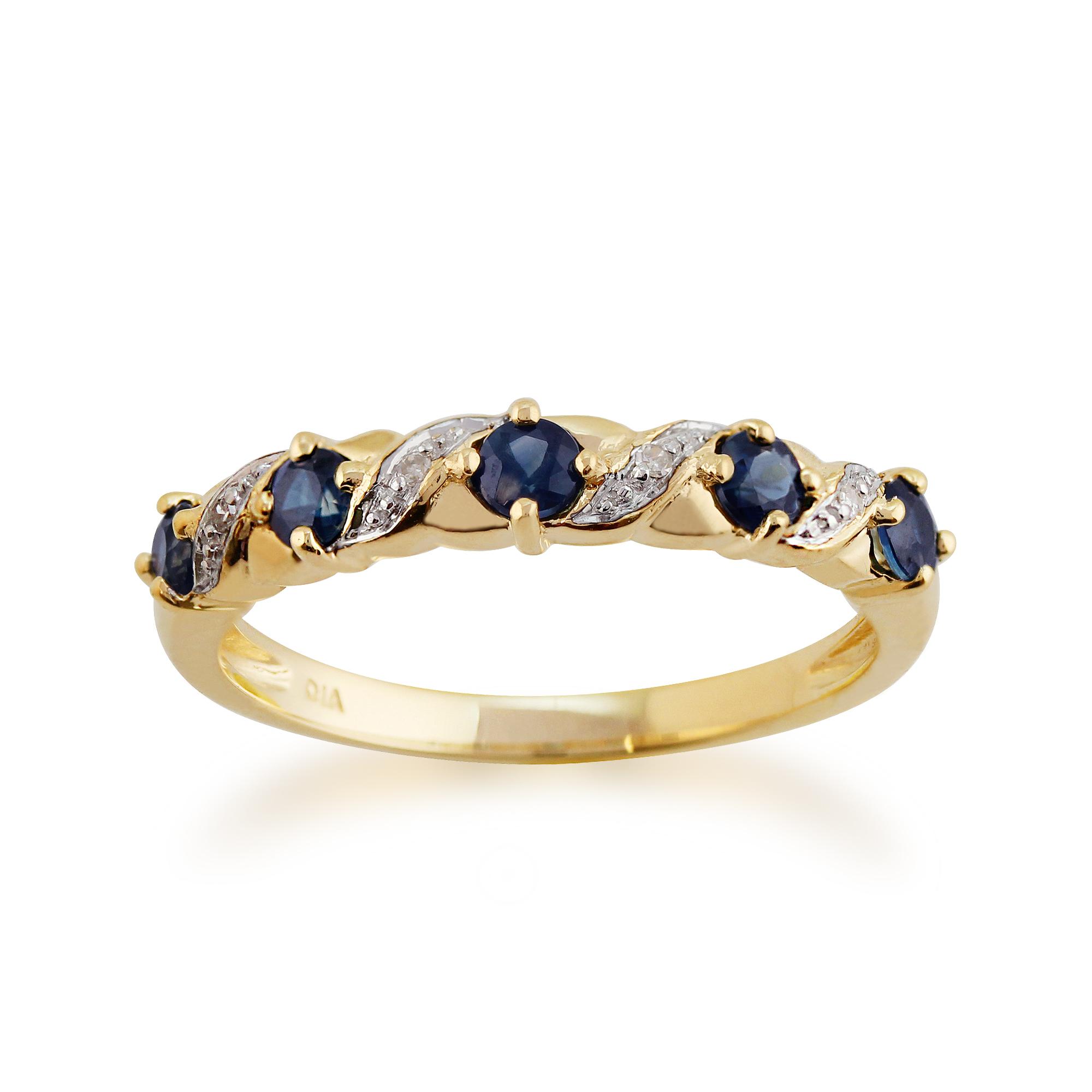 9ct Yellow Gold 0 55ct Natural Sapphire Amp Diamond Half