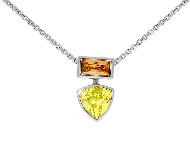 Champagne and Peridot CZ Silver Necklace