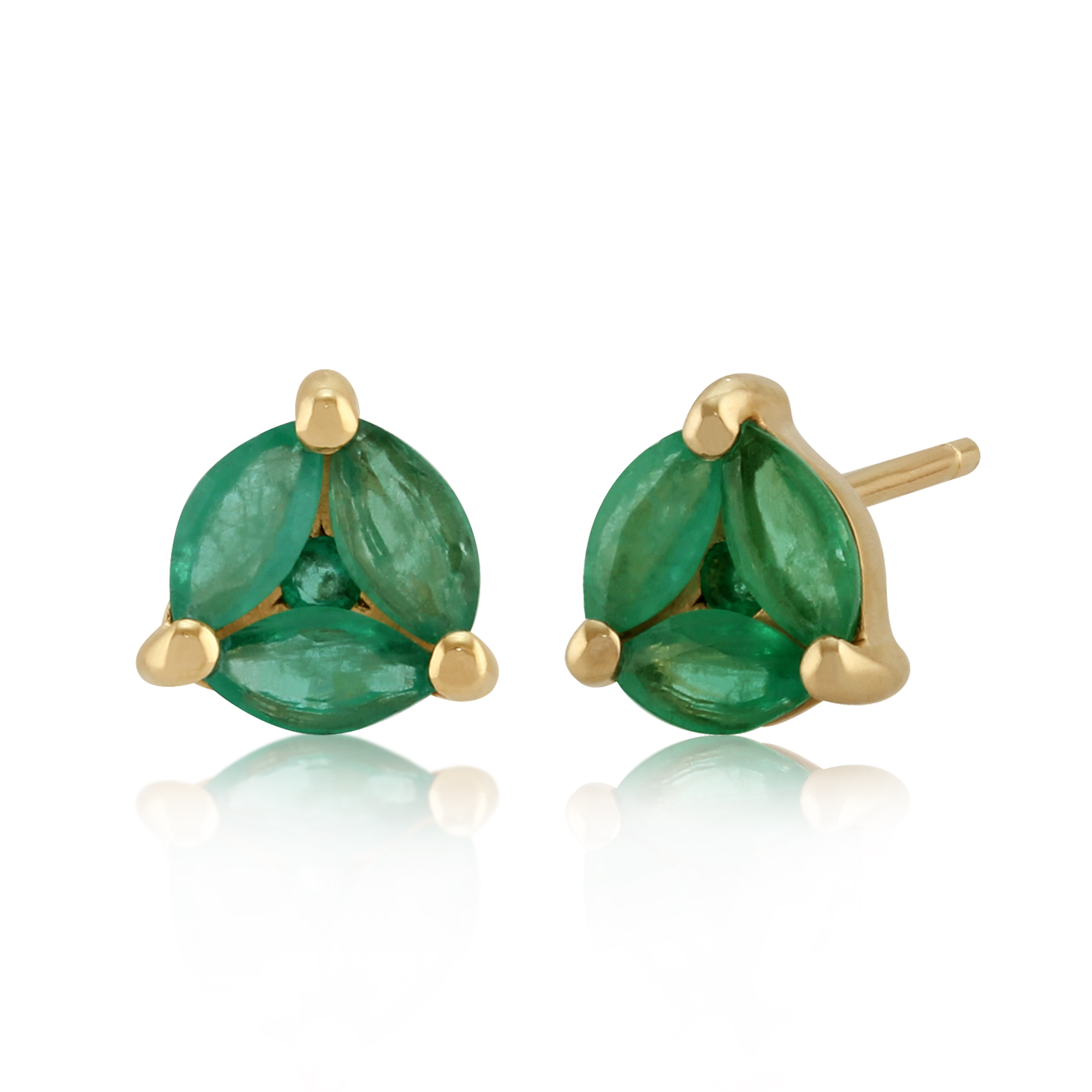 9ct Yellow Gold 0.83ct Emerald Contemporary Round Stud Earrings