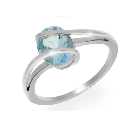 18ct White Gold 1.95ct Sky Blue Topaz Wrapped Single Stone Ring Size: W