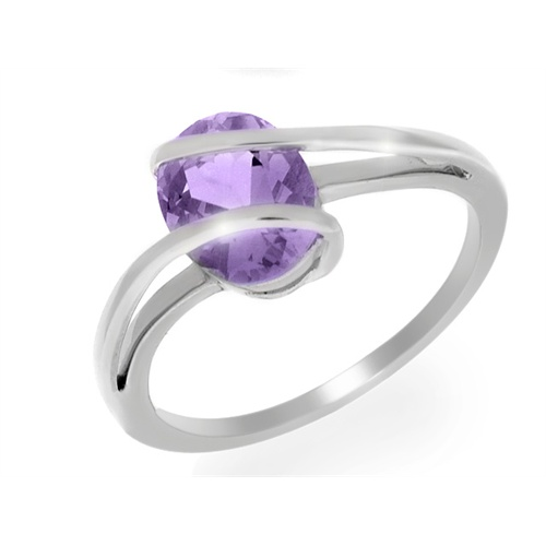 18ct White Gold 1.43ct Amethyst Wrapped Single Stone Ring Size: X