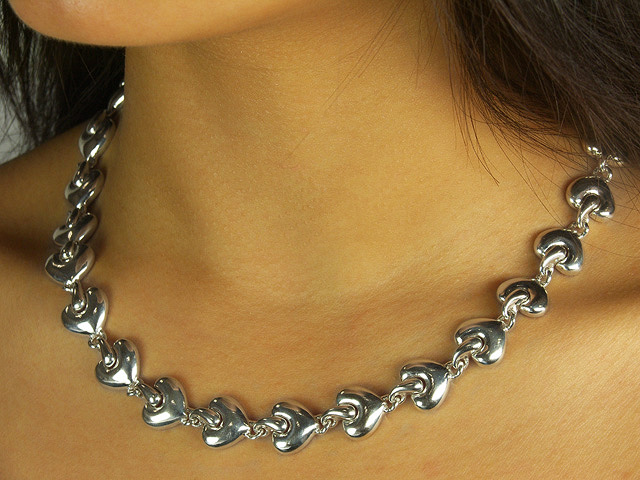 Polished 925 Sterling Silver Heart Design Necklace