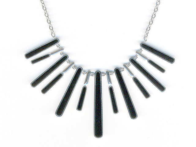 925 Sterling Silver Black Onyx Tribal Necklace