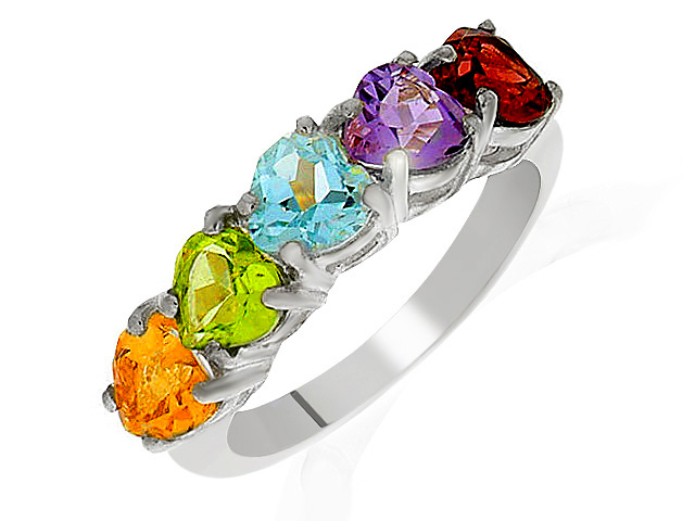 Silver Heart Shape Multi Gemstone Ring