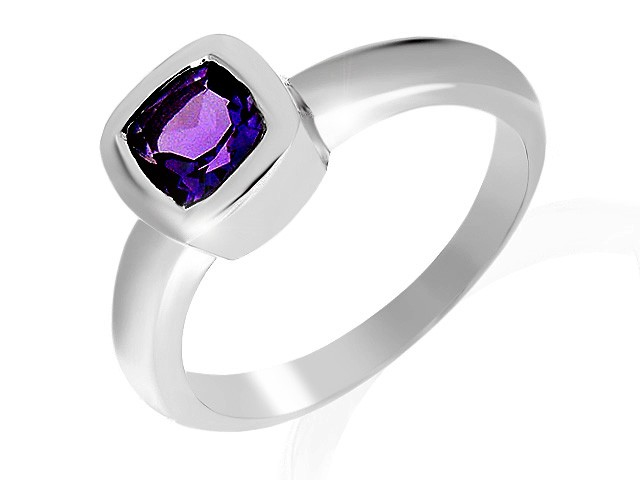 Silver Amethyst Single Stone Ring