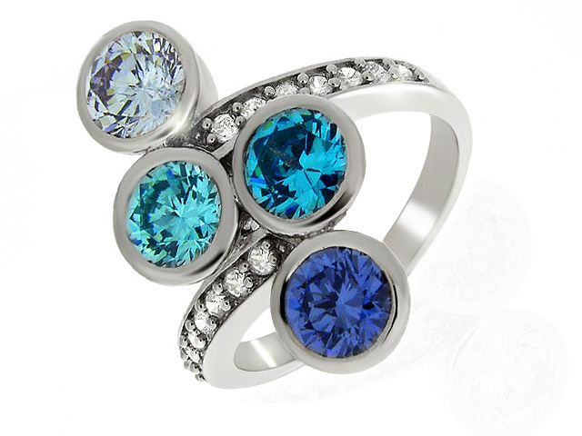 Silver MultiColour Cubic Zirconia Ring