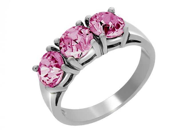 Esse Silver Pink Cubic Zirconia Ring