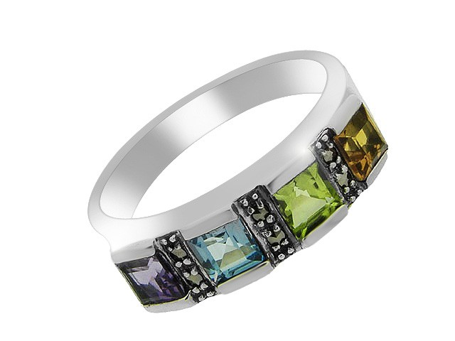 Silver Multi Gem Stone Ring