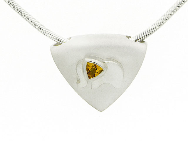 925 Sterling Silver Citrine Elephant Design Necklace
