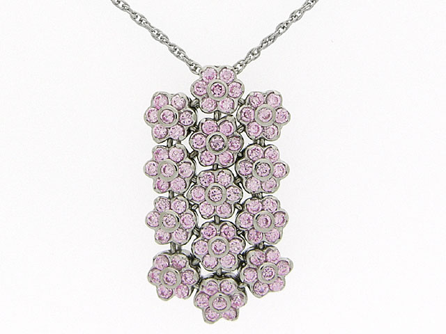 Silver Pink CZ Necklace