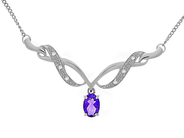 9ct White Gold Amethyst