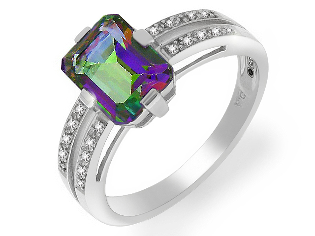 9ct White Gold Emerald Cut Mystic Topaz 