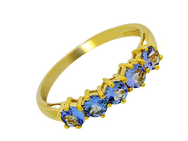 9ct Yellow Gold Tanzanite Five Stone Ring