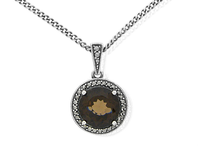 Silver Smoky Quartz and Marcasite Necklace