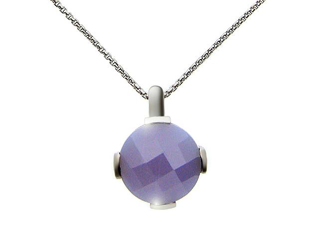 Silver Lavender CZ Necklace
