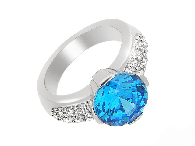 Silver Blue and White Cubic Zirconia Ring