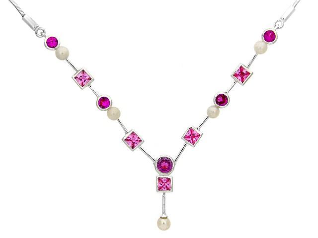 Silver White and Pink CZ Necklace