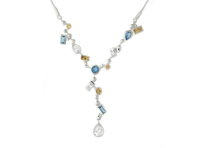 Silver Champagne, White and Blue CZ Necklace