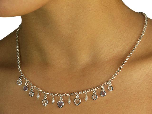 Silver Faux Pearl Tanzanite