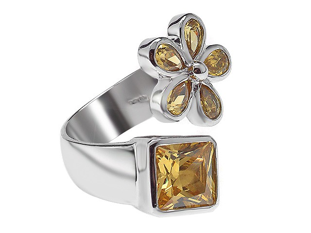 Otazu Silver Yellow CZ Flower 