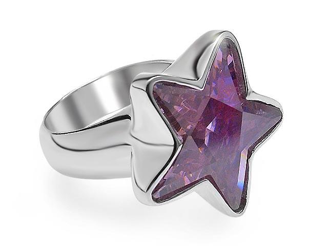 Otazu Silver Pink CZ Star Ring