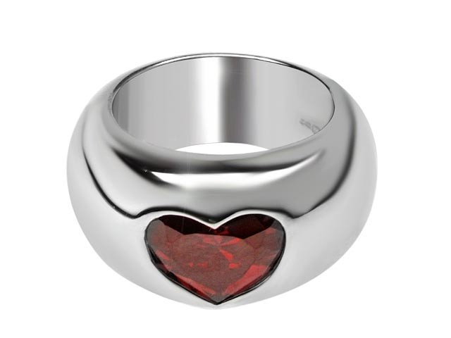Otazu Silver Red Cubic Zirconia Heart Ring