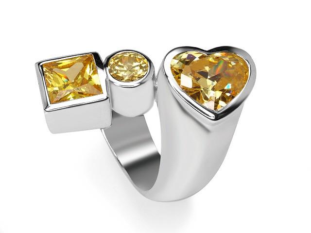 Otazu Silver Yellow CZ Heart
